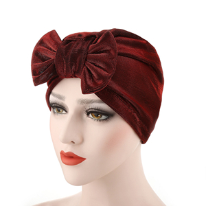 Wholesale solid color silk bow Muslim head scarf