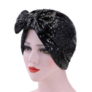 Wholesale muslim sequin double bow head scarf