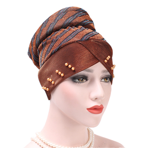 Colorblocked striped beaded Muslim head scarf cheap from china