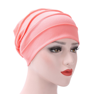 Wholesale cotton solid color double layer windproof head scarf