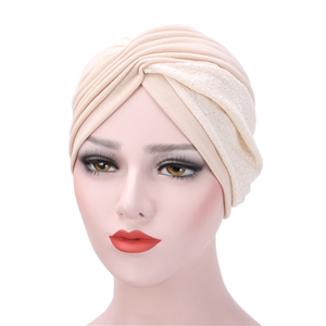Two-tone pleat Muslim cheap head scarf