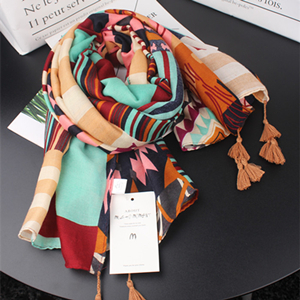 Wholesale colour matching geometric sunscreen cotton scarf