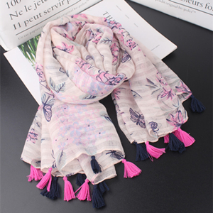 China cheap pink flowers butterfly print cotton scarf