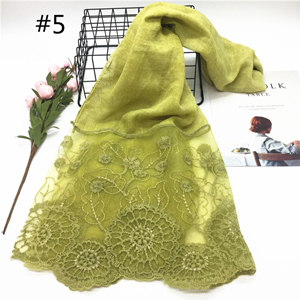 Cotton solid color monochrome lace stitching cheap scarf