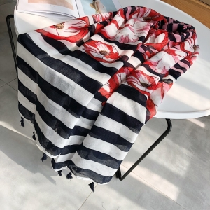 Wholesale cotton floral striped print sunscreen scarf