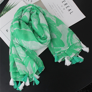 Wholesale green leaf cotton tassel sunscreen scarf
