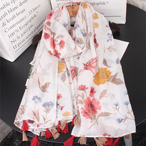 Wholesale sequin flower print fringe thin sunscreen scarf