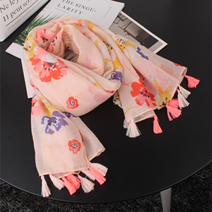 Pink flowers fringed cotton wholesale scarf