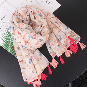 Wholesale floral printed cotton tassel scarf