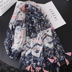 Wholesale dark blue color mixed floral thin section cotton scarf