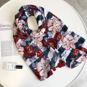 Tassel flower print sun protection wholesale scarf