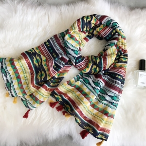 Geometric print cotton tassel wholesale scarf