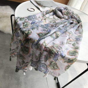 Floral printed handmade tassel fringe sunscreen cheap scarf