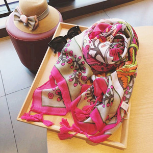 Wholesale rose red printed cotton sunscreen scarf