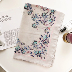 Floral thin section cotton sunscreen cheap scarf