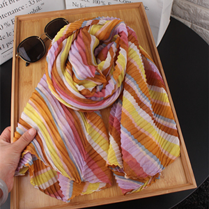 Wholesale striped pleated cotton sunscreen scarf