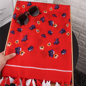Wholesale red floral cotton sunscreen scarf