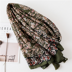 Wholesale printed tassel cotton decorative sunscreen scarf