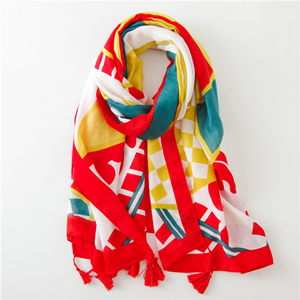Wholesale geometric contrast color cotton sunscreen scarf