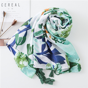 Leaf flower pattern print tassel cotton sunscreen scarf
