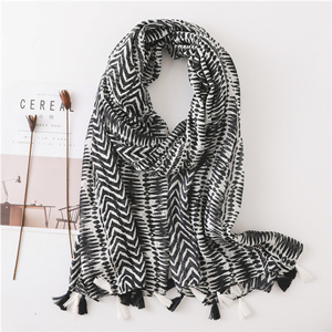 Black white geometric striped tassel long decorative scarf