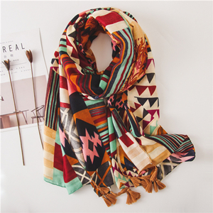 Color matching geometric print cotton cheap scarf