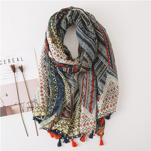 Geometric print tassel cotton wholesale scarf