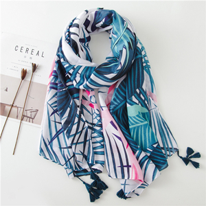 Wholesale leaf pattern printing sunscreen cotton scarf