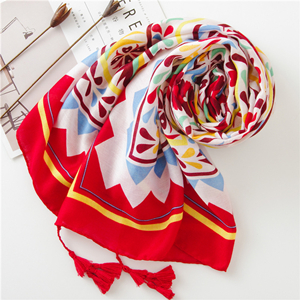 Wholesale geometric print tassel cotton sunscreen scarf