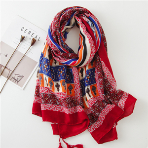 China cheap geometric print tassel cotton decorative scarf