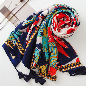 Floral print tassel cotton sunscreen scarf