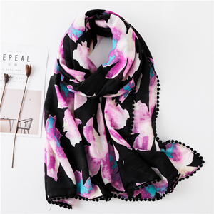 Flower print four side lace hair ball sunscreen scarf