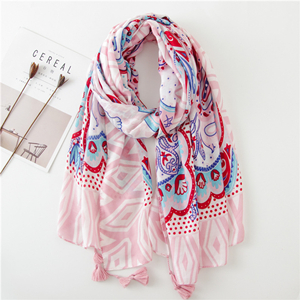 Pink totem print tassel cotton sunscreen scarf