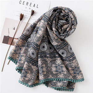 Geometric contrast color lace ball tassel sunscreen scarf