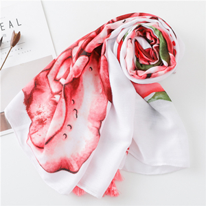 Red rose fringed sunscreen cotton scarf
