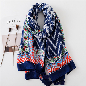 Bright blue wavy pattern printed cotton decorative scarf