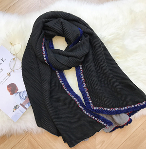Wholesale cotton shawl pleated scarf China