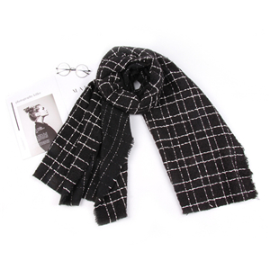 Wholesale black thick line plaid cashmere scarf