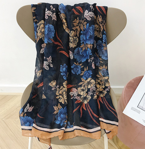Wholesale cotton scarf flower print shawl hangzhou
