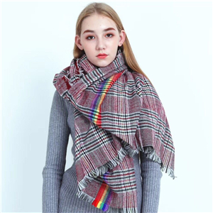 Cheap British color stripe plaid pattern warm scarf