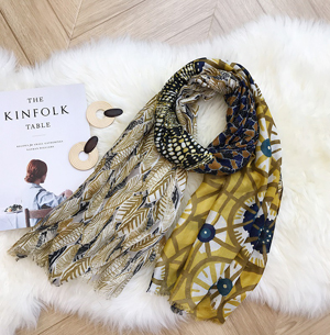 Cotton leaves hot stamp scarf woman winter shawl