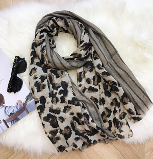 China leopard print cotton linen scarf large shawl wholesale