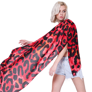 Wholesale big leopard pattern cotton sunscreen scarf