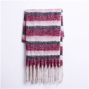 Horizontal stripes color matching tassel cashmere cheap scarf