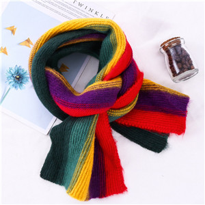 Wholesale rainbow gradient striped cotton children scarf