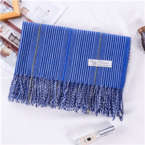 Wholesale solid color pinstripe fringed cashmere scarf