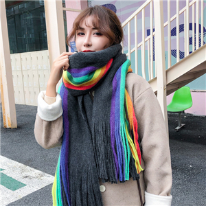 Wholesale rainbow color double-sided striped cashmere scarf