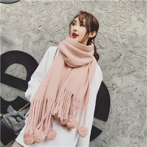 Wholesale solid color imitation cashmere ball scarf