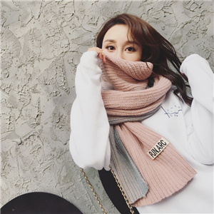 Wholesale gradient color matching knit cotton scarf
