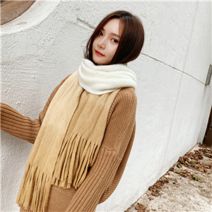 Wholesale solid color gradient tassel cashmere scarf